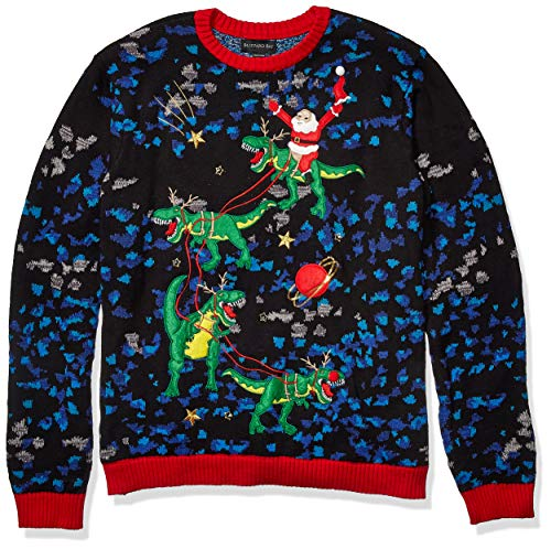 Blizzard Bay Men's Ugly Christmas Sweater Light UP, Black/Dark Green, X-Large