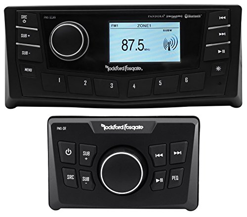 """Rockford Fosgate PMX-5CAN 2.7"""" Marine Bluetooth Receiver+Wired Remote"""