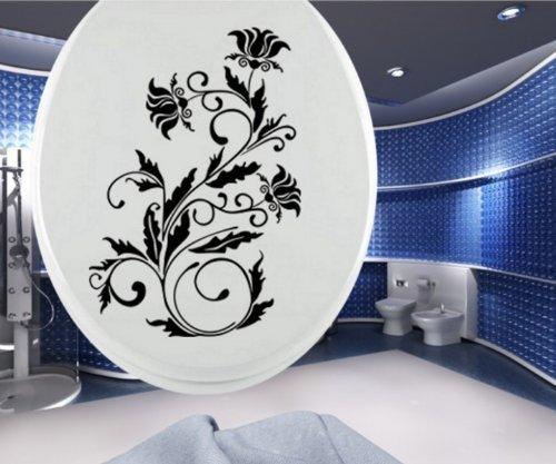 Toilet Stoel Decal Toilet Bloemen Tattoo Klo Tendril Bad Deco Muur Toilet Badkamer 3C004