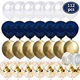 112Pcs Navy BlueBalloons - Gold Chrome Balloons - Gold Confetti Balloons - White Balloons Matte - Balloon Strip - Glue Points forBaby Shower, Boys Birthday Party, Wedding PartyDecorations