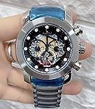 HHBB Marca de lujo Hombres Cronógrafo Cronógrafo Zafiro Acero Inoxidable Oro Rosa Amarillo Plata Negro Azul Luminoso Esqueleto Reloj Aaa+ Plata Negro