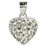 SilberDream scintillement bijoux - Pendentif coeur en argent 925 avec Zircon Shiny blanc - approprié pour colliers...