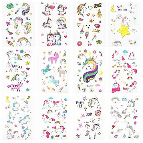 Homesupply Tatouage Licorne, Tatouage Ephémère Enfant, Tatouage Licorne D'enfant, Tatouage Temporaire Fille pour Cadeau Fête d'anniversaire Parties (12 feuilles)