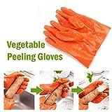 Fine Fruit Vegetable Potato Processing Tools PVC Anti-Slip Peelers Gloves Cooking Tools Kitchen Gadget (Orange)