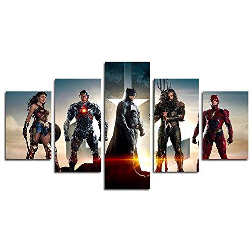 YspgArt Lienzo de pintura impresa, 5 piezas de la Liga de la Justicia de superhéroes escena de la pared de la pintura para el hogar, sala de estar, oficina, decoración de regalo (sin marco)