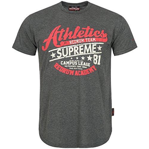 REDRUM Stretwear Fashion Herrenshirt Herren T-Shirt Hip Hop Kleidung Men Supreme Athletics (Anthrazit, XXL)