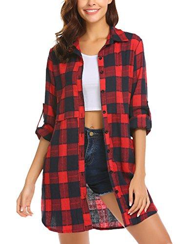 UNibelle Damen Hemd Langarmshirt Kariertes Karohemd Hemdkleid Blusenkleid Oversize Cardigan Top Shirtkleid Karo Kleid XL