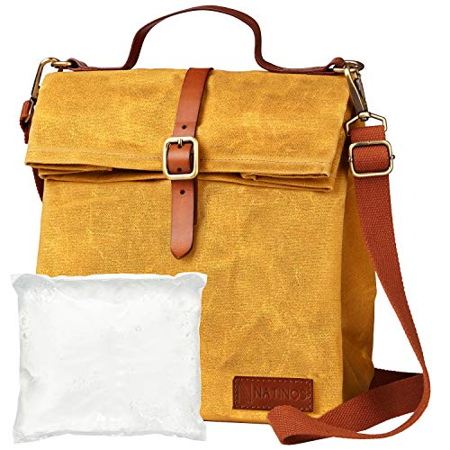Natinos Lunchtasche - isolierte und wasserdichte Kühltasche mit Tragegurt - inklusive Kühlakku - aus gewachstem Canvas 100% Baumwolle (Senfgelb)