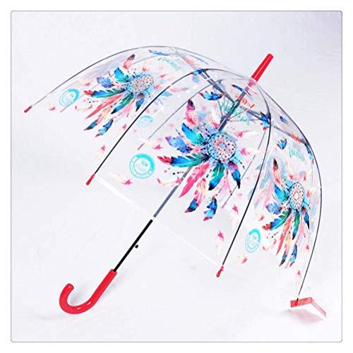 DFSDG Álpaca Paraguas niños Transparentes Paraguas de Dibujos Animados Unicornio Paraguas niños Arco Iris Paraguas Semi automático (Color : Red)