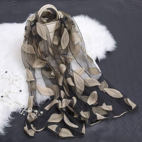 baidicheng Mantón de playa nuevo bordado de encaje con flores de corte hueco, hojas de seda para mujer, bufanda de seda larga moda verano chal de playa estola (color 7, tamaño: talla única)