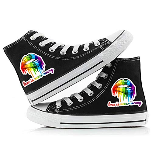 Bingchuan Gay Pride Canvas Shoes LGBT Canvas Shoes Sneaker High Top Casual Shoes
