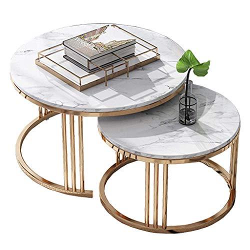 Strona główna D eacute; cor Meble Okrągłe stoły lęgowe Nordic, stolik kawowy rekreacyjny, blat marmurowy, metalowa podstawa, zestaw 2 sztuk, do salonu lub salonu Salon lub salon
