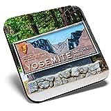Posavasos cuadrados con diseño de signo de Yosemite USA America Travel Park | Posavasos de calidad brillante | protección de mesa para cualquier tipo de mesa #46523