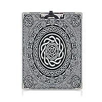 クリップボード 時計回りのツイスティスパイラルラインを備えたケルト民族のアイルランドの円形デザイン ミニバインダー 島のアート 用箋挟 クロス貼 A4 短辺とじロイヤルブルーホワイト