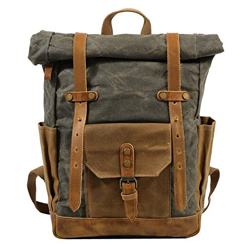 XXCLZ Waterproof Photography Backpack Bag, Retro Casual Travel Camera Backpack, Men Shoulders Carrying Bags, Fit 17' Laptop Case For DSLR,Army green