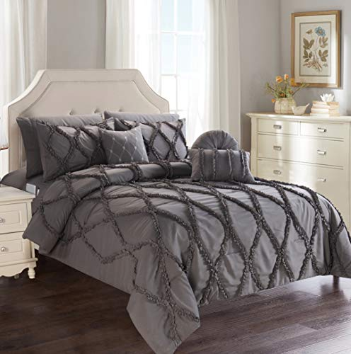 Elegant Comfort Luxury Best, Softest, Coziest 10-Piece Bed-in-a-Bag Infinity Design Comforter Set, Includes Bed Sheet Set with Double Sided Storage Pockets and Decorative Pillows, Full/Queen, Grey