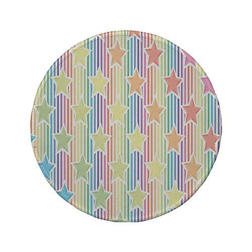 Alfombrilla de ratón Redonda de Goma Antideslizante Estrella Estrellas del Arco Iris en Ilustraciones de patrón de Rayas de Colores Concepto de Sala de Juegos Abstracta para Adolescentes Azul Amari