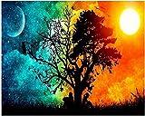 Diy Pintura digital Mesa de arte Pintura al óleo Lienzo Kit de numeración Pintura al óleo para adultos por kit de numeración Decoración Decoración Regalo Arte abstracto Arte'Sol y noche'