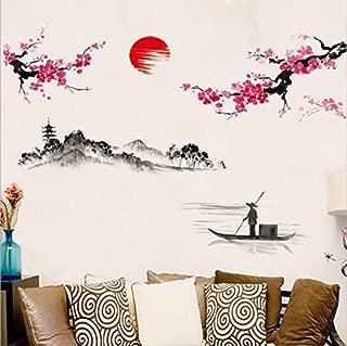 LIZHIOO Etiqueta de la Pared 3D Estilo Chino Sakura japonés Rosa Flor de Cerezo árbol decoración Etiqueta de la Pared decoración