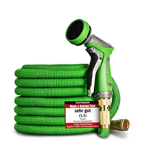 DUNLOP Gartenschlauch flexibel dehnbarer TESTSIEGER - Verschleißfreie Messinganschlüsse und gratis Metallbrause I dehnbarer Gartenschlauch 3/4 Zoll flexibler Wasserschlauch flexi (30 Meter)
