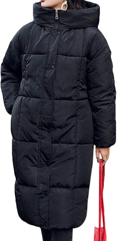 Qiangjinjiu Women Winter Warm Puffer Long Coat with Hood Thicke Down Jacket Coat