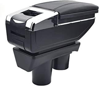 Oneuda Armrest Box for 2012-2016 Citroen c-Elysee/Peugeot 301, Universal Retractable Armrest Rotatable Center Console Storage Box with Cup Holder and Removable Ashtray