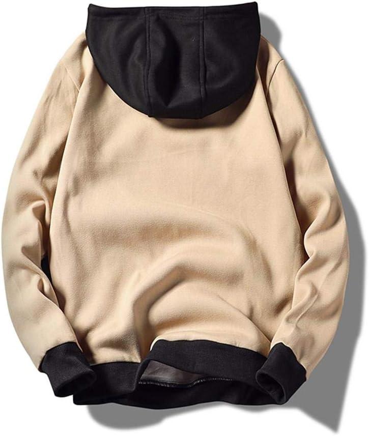 N-N Sweat à Capuche Streetwear Hip Hop Patchwork Sweat à Capuche pour Hommes Sweats à Capuche avec Cordon de Serrage Postuler aux fêtes de Sport, Clubs de Vacances, etc. Khaki
