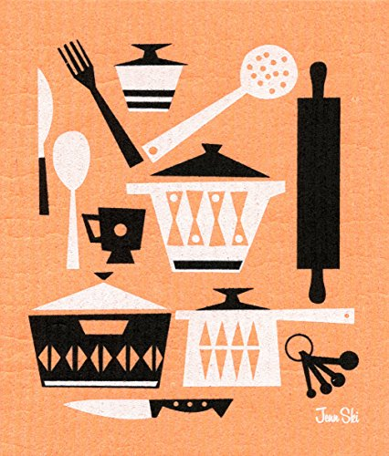 Trendy Tripper Swedish Dishcloth/Sponge Cloth, Jenn Ski Mid-Century Modern Design: Retro Scandinavian Kitchen Utensils (Black/White on Orange)
