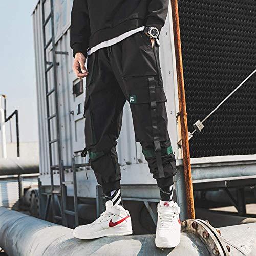 XIALIUXIA Pantalones De Hombre Hip Hop Streetwear, Streetwear Otoño Hip Hop Joggers Monos Moda Bolsillos Holgados Pantalones Pantalones Casuales Color Sólido Pantalones,B,XXXL