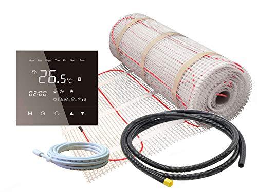 Elektrische Fußbodenheizung für Fliesen 160 W/m² Basic - Komplett-Set mit Thermostat RT-50 touch/schwarz (2 m² - 0,5 x 4 m)