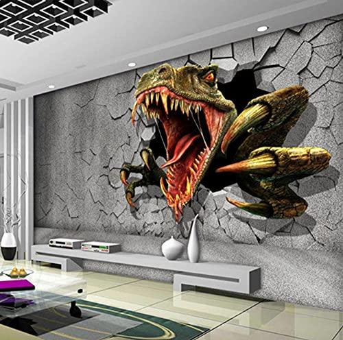 Pared de ladrillo estéreo 3D de tamaño personalizado, pintura de pared de arte creativo moderno, decoración de pared rota de dinosaurio, papel tapiz fotográfico para sala de estar