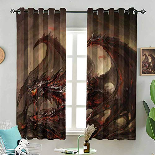 Dasnh Light Blocking Traditional Fantasy Theme W72 x L63 Inch (2 Panels) Indoor Curtain for Living Room Bedroom