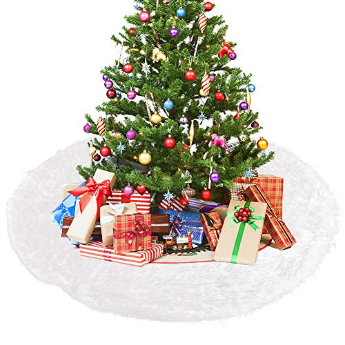 faddy-1 90cm Weihnachtsbaumdecke Weihnachtsdeko Weihnachtsbaum Rock,Rund Weiß Weihnachtsbaumdecke Christbaumständer Teppich für Weihnachten Baum