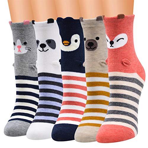Kfnire Mujer 3D calcetines de pintura animal que tejen calcetines de lana de lana, 4 pares / 5 pares / 6 pares (5 pares Animal rayado)