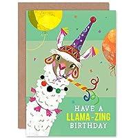 Llama Party Birthday Llamazing Greetings Card パーティー