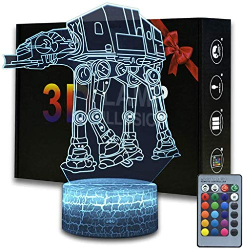 3D Illusion Star Wars Night Light, 16 Color Change Decor Lamp with Remote Control, Perfect Gifts for Kids and Star Wars Fans (ATAT Walker)