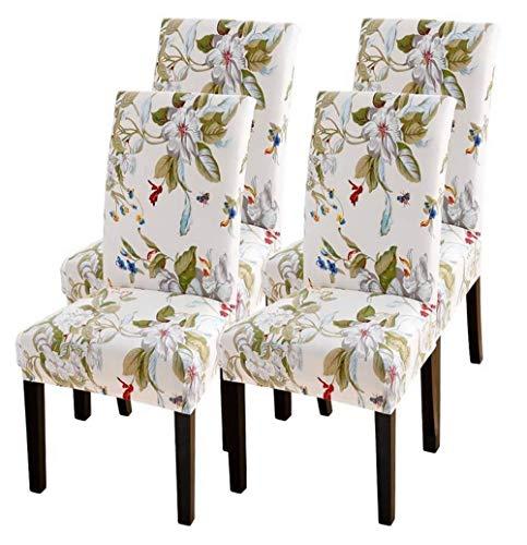 SearchI - Juego de 4 fundas elásticas para sillas, fundas universales y elásticas, modernas fundas para sillas de comedor, Beige con flores, 4 unidades