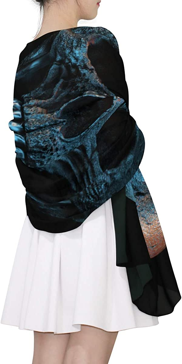 Dark Horned Demon Skull Unique Fashion Scarf For Women Lightweight Fashion Fall Winter Print Scarves Shawl Wraps Gifts For Early Spring