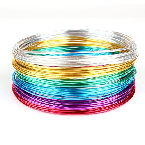 Creacraft Aluminium Schmuckdraht-Set Basic 6 Farben, 30m x (5m je Farbe) (1 mm)