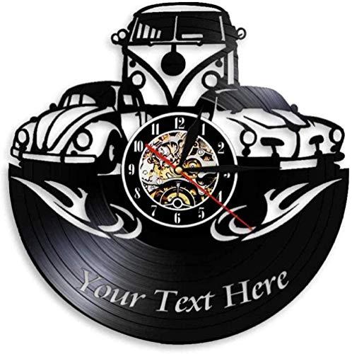 Reloj de Pared para decoración del hogar, Logotipo Personalizado, personalice su Nombre, Reloj de Pared con Registro de Vinilo automático, Regalo para niños-No_Led