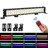 BEAMPLUS 22 Inch 252W RGB Led Light Bars Spot Flood Beam LED Fog Light RGB Light Bar 100000 hours Working Life IP68 Waterproof for Driving Offroad Boat Car Tractor Truck SUV ATV With Remote Control
