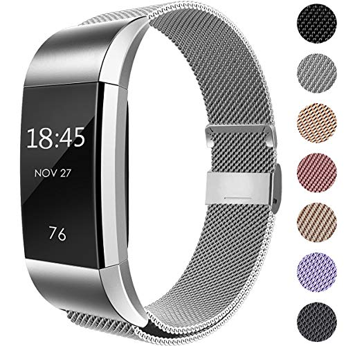 Hamily Kompatibel für Fitbit Charge 2 Armband, Metall Armband, Edelstahl Sport Ersatzarmband für Fitbit Charge 2 Fitness Tracker, Groß Silber