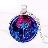 Collar de seta psicodélico hecho a mano con colgante de arte botánico de la naturaleza del bosque hippie joyería de cristal cabujón medallón redondo gargantilla