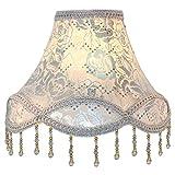 Eastlion Creativa Jacquard Bead 30CM E27 Pantalla de lámpara Para lámpara de mesa, lámpara de pie y Mesita de noche, Silver Rose