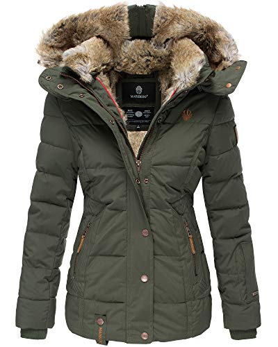 Marikoo Damen Winter Jacke Stepp Jacke Kunst-Fellkragen Warm gefüttert NKO167 (XX-Large, Olivgrün)