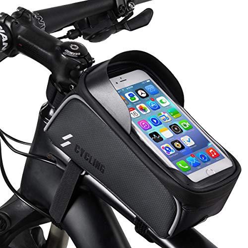 Borsa Bicicletta Telaio - Borsa Manubrio MTB Impermeabile con Striscia Riflettente Sensitive Touch Screen Visiera Solare e Grande capacità Perfetto per Tutti i Telefoni sotto 6.0 Pollici - Nero