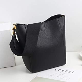 Runhuayou New Fashion Uncomplicated and Various Compact Bills Shoulder Slung Leather Handbags Great for Casual or Many Other Occasions Such (Color : Black)
