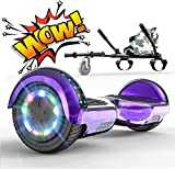 "RCB Hoverboard and go cart Hover kart seat bundle Built in LED lights Bluetooth Speaker Electric Segway Scooter Board 6.5"" Gift for Kids and Adult (Purple)"
