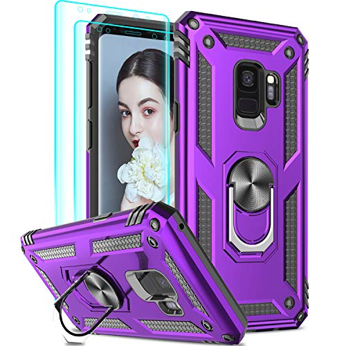 LeYi Compatible for Samsung Galaxy S9 Case (Not Fit S9 Plus), Samsung S9 Case with [2 PCS] 3D Curved Screen Protector, [Military-Grade] Metal Ring Kickstand Protective Phone Cover Case,Purple