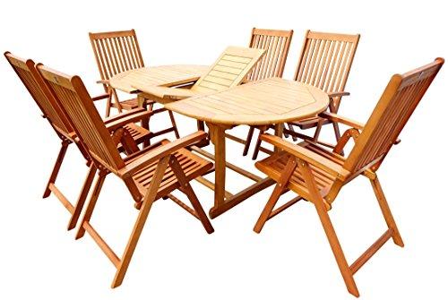 Gartengarnitur Ausziehtisch 150-200x100 + 6 Hochlehner 7-fach verstellbar LIMA Eukalyptus Hartholz wie Teak von AS-S